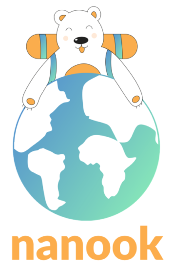 Nanook's logo showing a happy bear wearing a backpack and holding the earth
