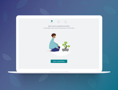 Display of Gwapit showing the first step of onboarding with a peaceful illustration